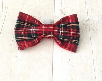 Red tartan dog bow tie