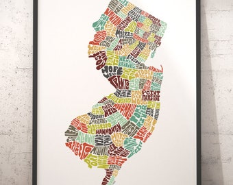 New Jersey Map Etsy - Map of the state of new jersey