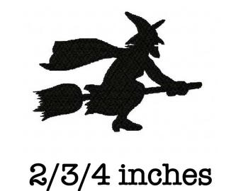 Halloween flying witch silhouette machine embroidery design 2/3/4 inch instant download