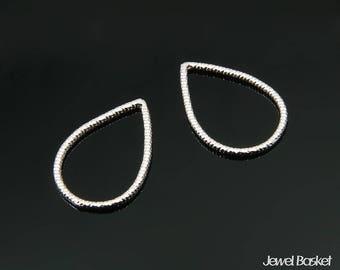 Teardrop Outline in Rhodium - 4pcs of Small Teardrop Pendant / 13.5mm x 19.0mm / BS356-P (4pcs) - Small