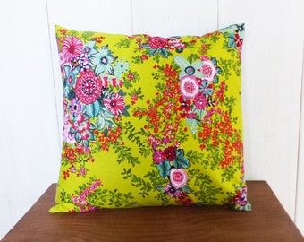 Yellow background Cushion cover 40 x 40 cm fabric flowers Mint, orange, pink, purple lime Bohemian decor