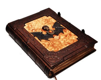 Very large leather journal, Book of dead, Necronomicon book, gothic style, Book of Secrets, Vampire book, Book of Shadows, Book od spells