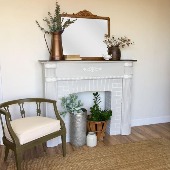 White Fireplace Mantel - Federal Style - Distressed Furniture - Antique Fireplace Surround - Faux Fireplace Mantel - Farmhouse Style