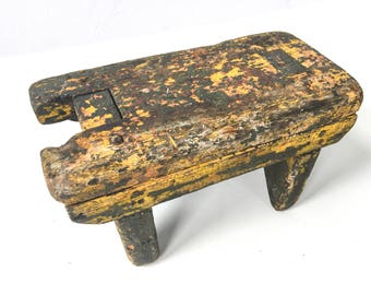 Primitive Small Yellow Antique Wood Foot Stool Home Decor