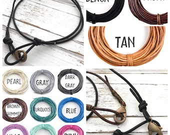You pick color! Leather Necklace - Child's Leather Necklace - Plain Leather Necklace - Men's Leather Necklace - Women's Leather Necklace