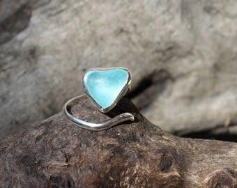 Aqua sea glass heart adjustable ring