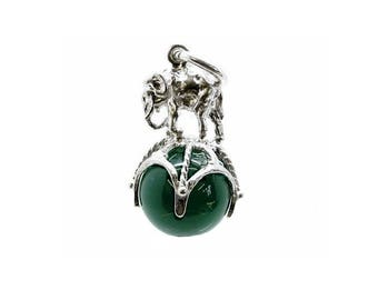 Sterling Silver Elephant On Ball Green Agate Fob Charm For Bracelets