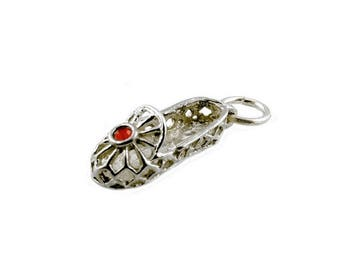 Sterling Silver Red Jewelled Dancing Shoe Charm For Bracelets