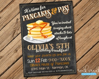 Pancakes & PJs Birthday Invitation, Pancakes and Pajamas Party, Pancake Birthday Party, Printable Birthday Party Invitation