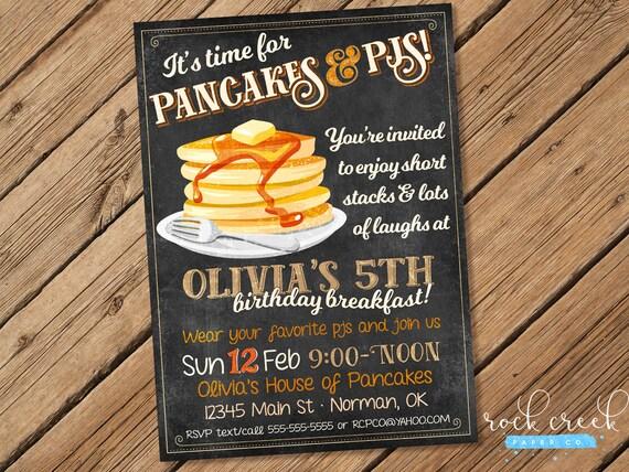 Pancakes pjs birthday invitation pancakes and pajamas party il570xn filmwisefo