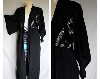 Sale 70's Bali Black Duster Fishnet Lace Coat / Vintage Long Black Kimono Sleeve Jacket / Black Kimono Duster with Pockets S/M