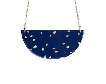 Collier CASSIOPEE • sautoir • bleu marine • étoiles • or • paillettes • minimaliste • cadeau • unique • noël