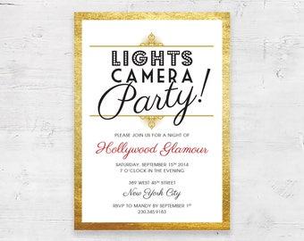 Hollywood Glamour / Oscar Night / Academy Awards / Red Carpet Invitation / Gold Shimmer Background Image