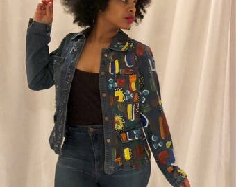 Revamped Hand Painted Blue Jean Jacket