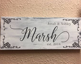 Distressed Family Name Sign