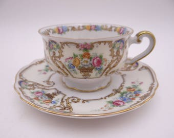 """1920s Vintage Paul Muller Bavaria """"The Stirling"""" Espresso Cappuccino Demitasse Teacup and Saucer Tea Cup"""