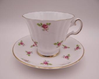 1950s Vintage English Bone China Royal Grafton Pink Rose Teacup and Saucer - English Teacup