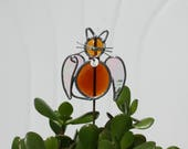 Stained Glass Amber Angel Cat Plant Stake with Personalized Collar, Cat Angel Garden Art, Cat Pet Memorial