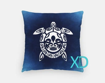 Blue Turtle Pillow, Animal Pillow Cover, Tribal Design Pillow Case, Blue Pillow, Artistic Design, Home Decor, Decorative Pillow Case, Sham