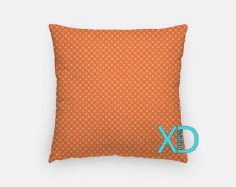 Rust Orange Pillow, Blue Grid Pillow Cover, Linear Pillow Case, Blue Pillow, Artistic Design, Home Decor, Decorative Pillow Case, Sham
