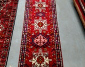 Reserved for lbassilios - 1980s Hand-Knotted Karaja Persian Rug Runner (242)