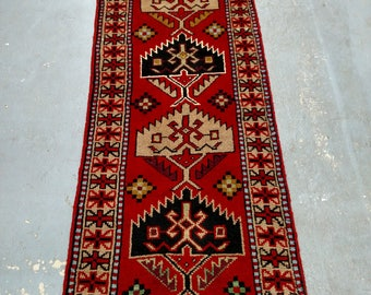 Persian Rug - 1980s Hand-Knotted, Vintage Ghouchan Rug Runner (3684)