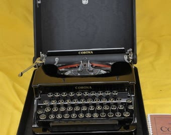 MINT Refurbished  Black 1936 CORONA Standard Typewriter SERVICED w/ warr