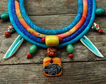 Bright ethnic Necklace, African rope necklace, Textile bead, Bright blue, Rope statement necklace, African bib necklace, Tribal boho jewelry