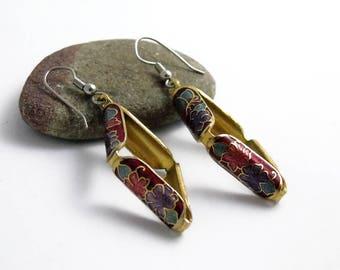 Vintage Cloisonné 3D Earrings, Butterfly Enamel Earrings, Flower Earrings, Butterfly Earrings, Pierced Earrings, Cloisonné Earrings, 1980s