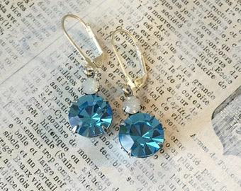 Vintage Rhinestone Earrings | Blue and Opal