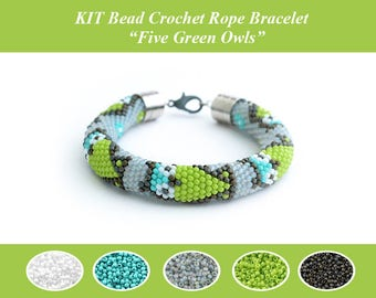 KIT Bead Crochet Owl Bracelet Bead Crochet Rope Pattern Jewelry Making Kit Crochet Necklace Beaded Necklace DIY Owls Fan Gift