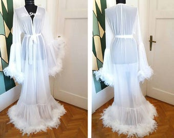 White Tulle Dressing Gown Feathers Robe Bride Feathers Dressing Gown White Stage Dress
