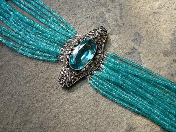 Vintage Brooch Bracelet, Art Deco Bracelet, Art Deco Jewelry, Blue Apatite, Apatite, Apatite Bracelet, Gemstone Cuff Bracelet, Cuff