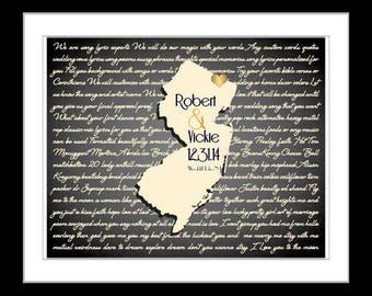 Valentines day lyrics, song map wall art, personalized gift, wedding gift idea for couple, lyrics wall art print map with wedding song heart