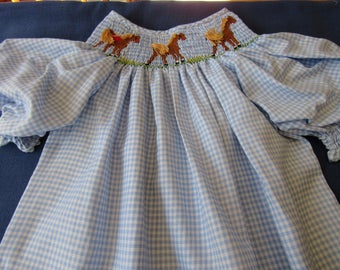 Hand smocked dres with horses