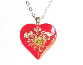 Queen Annes Lace Real Flower Glass Red Wildflower Pendant Heart Neckkace