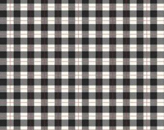 Black Checker Plaid Fabric Comfort Black Plaid by Dani Mogstad for Riley Blake Comfort and Joy Collection Black and White Christmas Fabric
