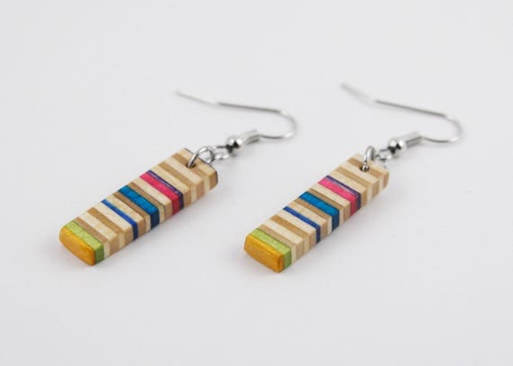 Recycled Skateboard Dangle Earrings