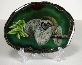 Sloth Painting on Agate