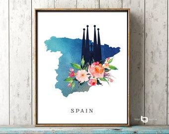 Spain Map Print, Barcelona Wall Art, La Sagrada Familia Print, Spain Watercolor Map Print, La Sagrada Familia Watercolor Flower Print, Art