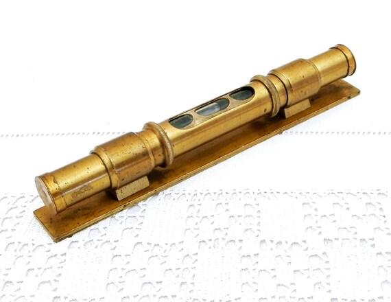 Small Antique Brass Pocket Tubular Spirit Level, Traveling Victorian Bubble Level, Old Measuring Tools, Office Desk Decor