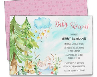 Swan Baby Invitation | Baby Shower | Printable Digital File | BSI149DIY