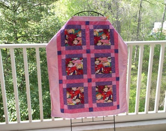 Little Princesses Baby/Toddler Quilt in Pinks and Purples with a Red Ombre Fleece Backing