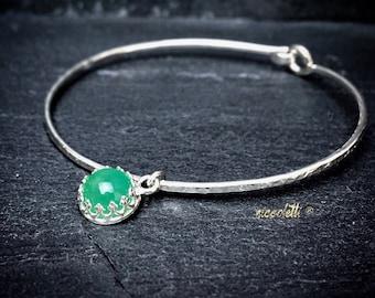 Genuine Chrysoprase Charm Bracelet / May Birthstone / Mom Jewelry / Gemstone Jewelry / Chrysoprase Bangle / Gift for Her / Graduation Gift