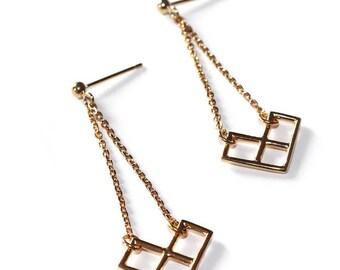 "Earrings in gold plated geometric ""Iris"""
