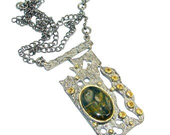 Pietersite, Citrine Sterling Silver Necklace - weight 29.60g - dim 2 5 8 inch - code 19-lip-17-33
