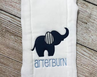 Elephant Burp Cloth, Appliqued Burp Cloth,  Boy Burp Rag, Monogram Burp Cloth