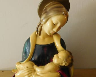 Madonna and Child Chalkware Statue