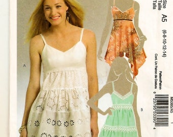 A Spaghetti Strap, Empire Waist, Tiered, Pointed Flutter Hem Top Pattern for Women: Sizes 6-8-10-12-14 w/Cup Size Variations ~ McCall's 5385