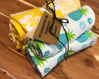 Pineapples and yellow Hawaiian floral print baby swaddling blankets set of 4